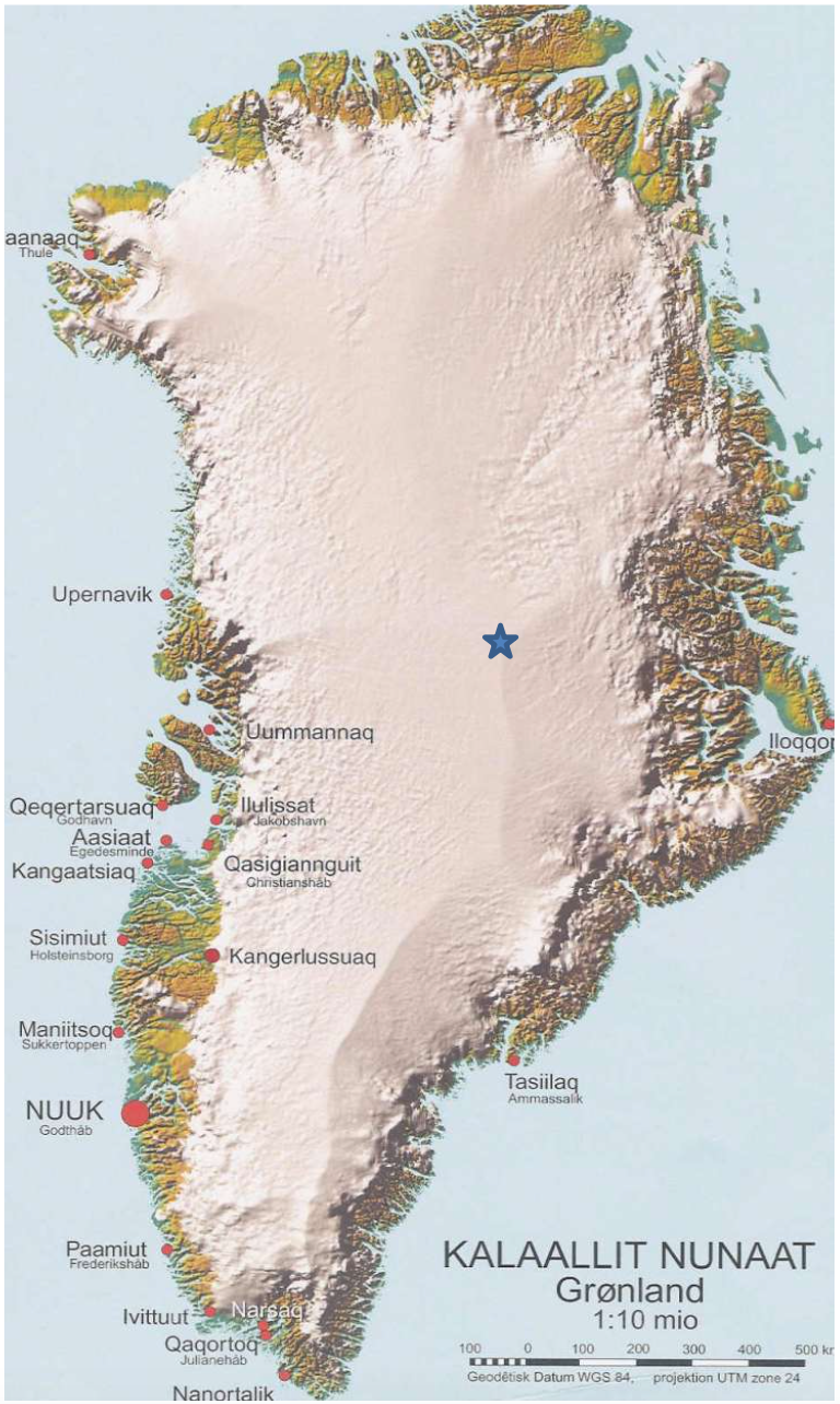 Map of Greenland showing location of Summit Station
